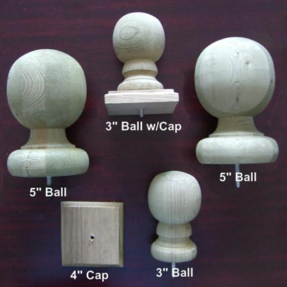 Wood Post Finials & Wood Ball Finials