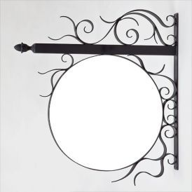 "Bavarian Scroll Fixed Frame Bracket w/ Round 1"" Thick PVC Sign Blank"
