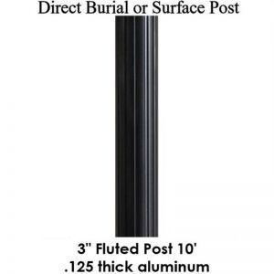 10' Fluted Aluminum Post, powder coated satin black