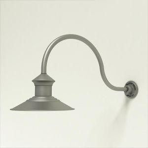 "Aluminum Gooseneck RLM Light -12"" Barn Light Shade w/  24.75"" x 3/4"" Dia. Arm"