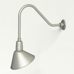 "Aluminum Gooseneck RLM Light   22-1/4""L x 1/2"" Dia Arm - 12"" Angle Shade"
