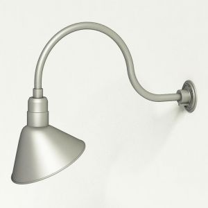 "Aluminum Gooseneck RLM Light - 24-3/4""L x 3/4"" Dia Arm - 12"" Angle Shade"