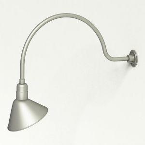 "Aluminum Gooseneck RLM Light | 34""L x 3/4""Dia. Arm with 12"" Angle Shade"