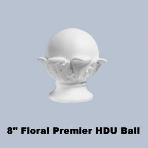 "8"" Dia. Ball with Classic Floral Base Finial Newel Post Top"