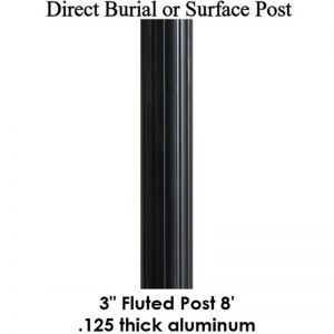 8' Fluted Aluminum Post, powder coated satin black