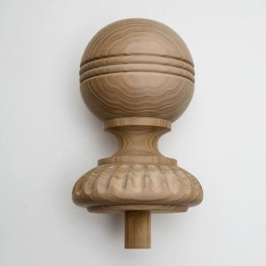 "9"" Wood Decorative Finial- Furniture Grade, Style D10 Carved"