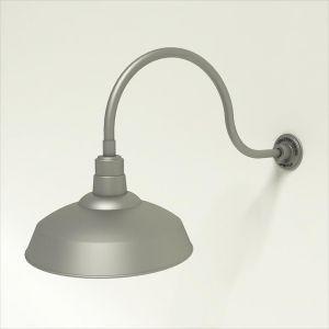 "Aluminum Gooseneck RLM Light - 24 3/4""L x   3/4""  Dia. Arm with 16"" Warehouse Shade"
