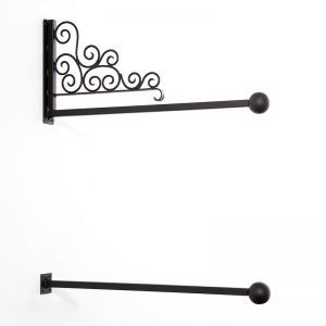 Decorative Scroll Banner Bracket Wall Mount with Ball Finials