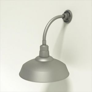 "Gooseneck Light Aluminum- 12""L x 3/4"" Dia. Arm with 16"" Warehouse Shade"