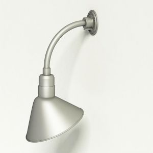 """Gooseneck Light Aluminum - 10"""" W x 10"""" H, Arm - with 12in. Angle Shade"""