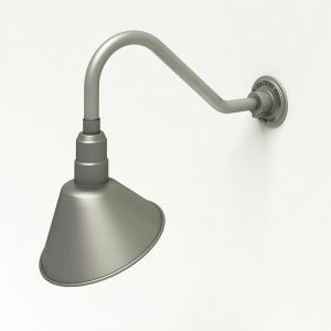 "Aluminum Gooseneck RLM Light - 18""L x 1/2"" Dia. Arm with 10"" Angle Shade"