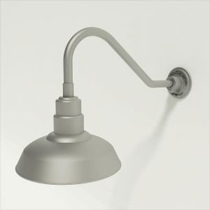 "Aluminum Gooseneck RLM Light - 18""L x 1/2"" Dia. Arm with 12"" Warehouse Shade"