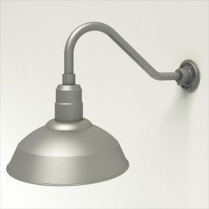 "Aluminum Gooseneck RLM Light - 18""L x 1/2"" Dia. Arm with 14"" Warehouse Shade"