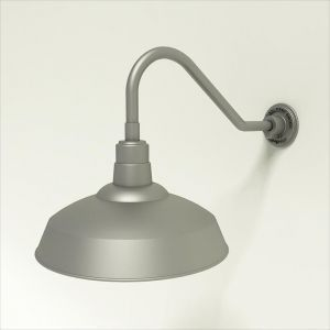 "Aluminum Gooseneck RLM Light - 18""L x 1/2"" Dia. Arm with 16"" Warehouse Shade"