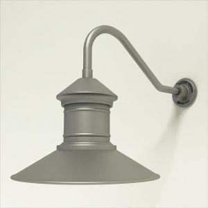 "Aluminum Gooseneck RLM Light - 18"" x 1/2"" Dia. Arm with 16"" Barn Light Shade"