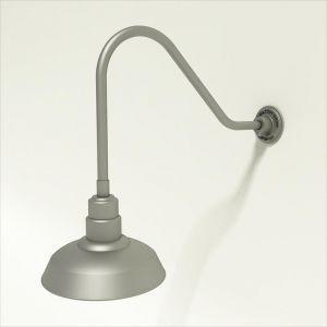 "Gooseneck Light Aluminum- 22 1/4""L x 1/2"" Dia. Arm with 12"" Warehouse Shade"