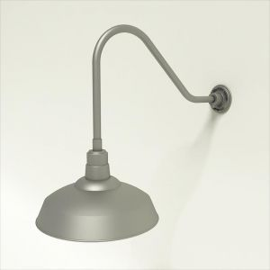 "Gooseneck Light Aluminum- 22 1/4""L x 1/2"" Dia. Arm with 16"" Warehouse Shade"
