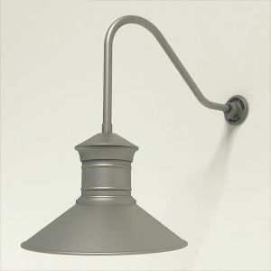 "Gooseneck Light Aluminum - 22.25"" x 1/2"" Dia. Arm with 18"" Barn Light Shade"