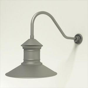 "Gooseneck Light Aluminum - 22.25"" x 3/4"" Dia. Arm with 16"" Barn Light Shade"