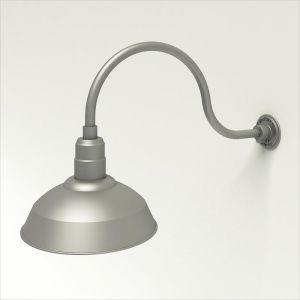 "Aluminum Gooseneck RLM Light -24-3/4""L x  3/4"" Dia Arm - 14"" Warehouse Shade"