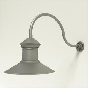 "Aluminum Gooseneck RLM Light -24.75"" x   3/4""  Dia. Arm with 16"" Barn Light Shade"