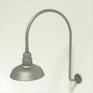 "Gooseneck Light Aluminum- 25 1/4""W x 39"" H x 3/4"" Dia. Arm with 12"" Warehouse Shade"