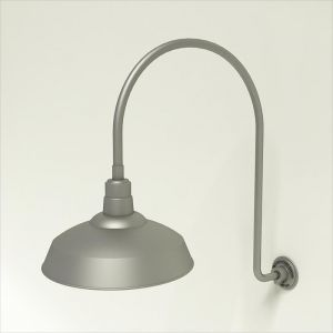 "Gooseneck Light Aluminum- 25 1/4""W x 39"" H x 3/4"" Dia. Arm with 16"" Warehouse Shade"