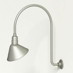 "Gooseneck Light Aluminum - 25.25"" W x 39"" H, Arm - with 12in. Angle Shade"