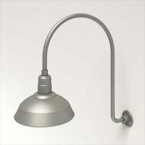 "Gooseneck Light Aluminum - 25.25"" W x 39"" H, Arm - with 14in. Warehouse Shade"