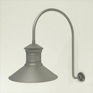 "Gooseneck Light Aluminum - 25.25"" x 39"" Arm with 18"" Barn Light Shade"