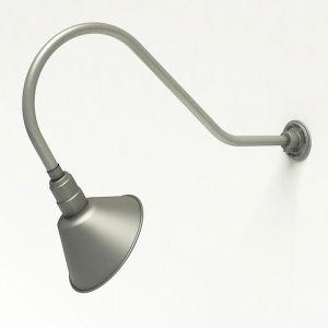 "Aluminum Gooseneck RLM Light - 35.5""L x 13.5""H, 3/4"" Dia. Arm with 10"" Angle Shade"