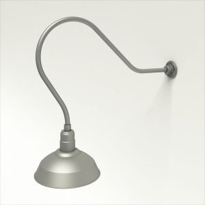 """Gooseneck Light Aluminum - 35"""" W, Arm - with 14in. Warehouse Shade"""