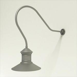 "Gooseneck Light Aluminum - 35"" x 3/4"" Dia. Arm with 16"" Barn Light Shade"