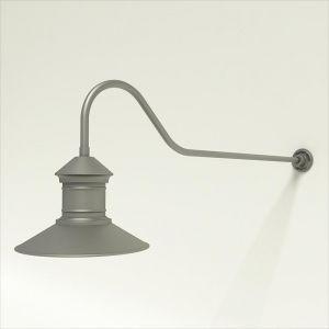 "Gooseneck Light Aluminum - 48.25"" x 3/4"" Dia. Arm with 16"" Barn Light Shade"