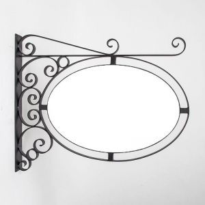 Wall Mount Fixed Oval Sign Frame with Scrolls - 3 Sizes to Choose From