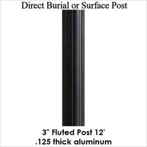 12' Fluted Aluminum Post, powder coated satin black
