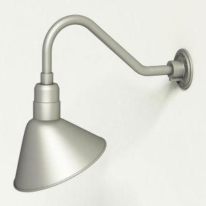 "Aluminum Gooseneck RLM Light 18""L x 1/2"" Dia. Arm with 12"" Angle Shade"