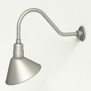 "Aluminum Gooseneck RLM Light | 22-1/4""L x 3/4"" Dia Arm - 12"" Angle Shade"