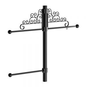 Lamp Post Banner Bracket Set w/ Scroll Artwork - 18in. Hanging Basket and Coco Liner Included