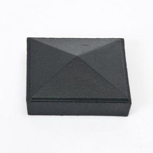 "3"" Sq Cast Iron Cap - Pyramid - Black"
