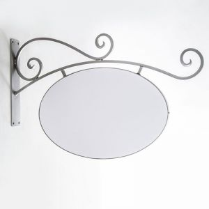 40in. Silver Low Profile Milano Arch Blade Sign Bracket and Sign Blank