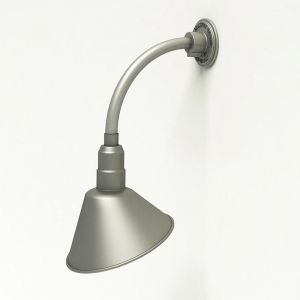 """Gooseneck Light Aluminum - 12"""" W x 12"""" H, Arm - with 10in. Angle Shade"""