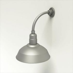 """Gooseneck Light Aluminum - 10"""" W x 10"""" H, Arm - with 14in. Warehouse Shade"""