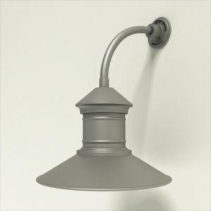 "Gooseneck Light Aluminum - 10"" x 3/4"" Dia. Arm with 16"" Barn Light Shade"