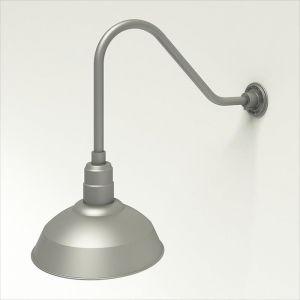 "Aluminum Gooseneck RLM Light |  22-1/4""L x 1/2"" Dia Arm - 14"" Warehouse Shade"