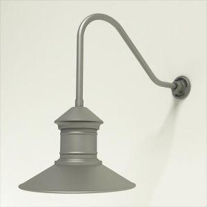 "Gooseneck Light Aluminum - 22.25"" x 1/2"" Dia. Arm with 16"" Barn Light Shade"