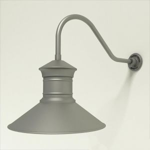 "Gooseneck Light Aluminum - 22.25"" x 3/4"" Dia. Arm with 18"" Barn Light Shade"