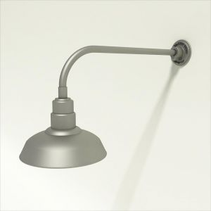 """Gooseneck Light Aluminum - 23"""" W x 7.5"""" H, Arm - with 12in. Warehouse Shade"""