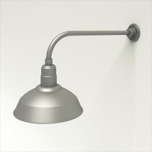 """Gooseneck Light Aluminum - 23"""" W x 7.5"""" H, Arm - with 14in. Warehouse Shade"""