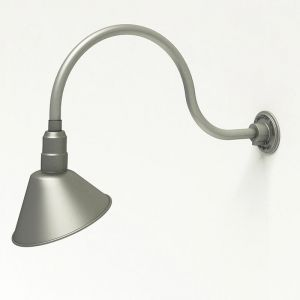 "Aluminum Gooseneck RLM Light - 24-3/4""L x   3/4""  Dia Arm - 10"" Angle Shade"